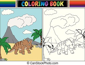 Coloring book with triceratops cartoon