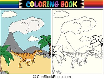 Coloring book with tyrannosaurus cartoon