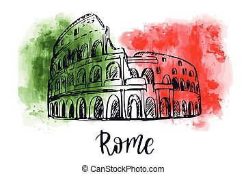 Vector illustration of colosseum in Rome, Italy