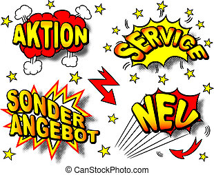 vector illustration of colourful german cartoon labeling