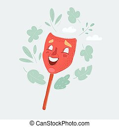 Vector illustration of Comedy theatrical mask isolated on a white background