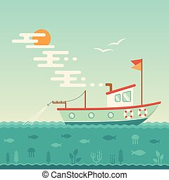commercial ship, fishing boat