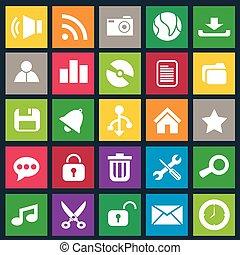 Computer icon metro style set