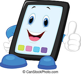 Computer tablet cartoon giving thum - Vector illustration of...