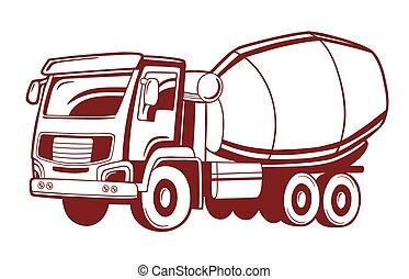 Vector illustration of concrete mixer truck.