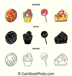 Vector illustration of confectionery and culinary sign. Collection of confectionery and product vector icon for stock.