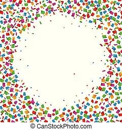 Confetti seamless bright round frame colorful for celebration