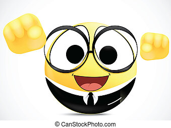 Confidence Office worker Emoticon - Vector Illustration Of...