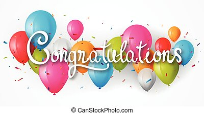 Congratulations banner with balloon