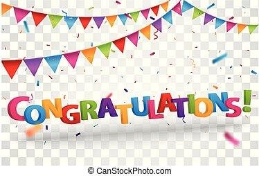 Congratulations sign letters with colorful confetti