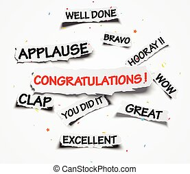 Congratulations sign on ripped paper over confetti