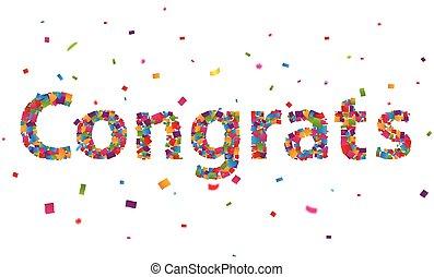 Congratulations sign with colorful confetti