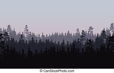 Vector illustration of coniferous forest in three layers ...