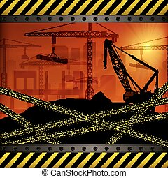 Construction crane at sunset background