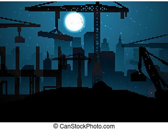 Construction site with cranes on night sky and moon