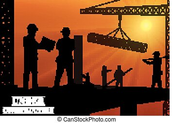 Construction worker silhouette on the work place at dusk
