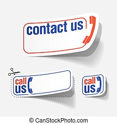 Contact us labels - Vector illustration of Contact us labels