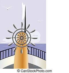 Vector illustration of control wheel on the boat sails