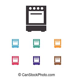 Vector Illustration Of Cook Symbol On Cooker Icon. Premium Quality Isolated Oven Element In Trendy Flat Style.