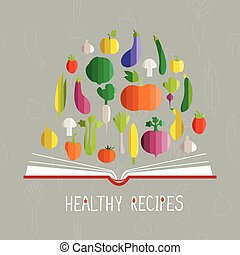 vector illustration of cookbook with vegetables