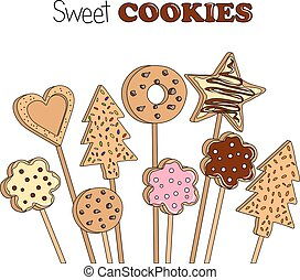 Vector illustration of cookies on a wooden stick