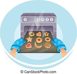 Vector illustration of Cookies set