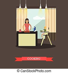 Vector illustration of cooking mother with her son in kitchen.