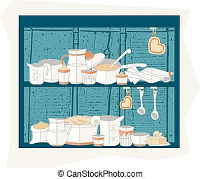 vector illustration of cooking set in flat design style