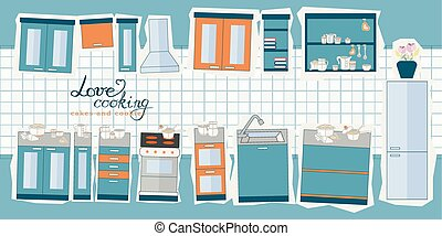 vector illustration of cooking set