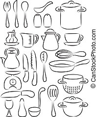 vector illustration of cooking utensil set in black and white