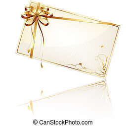 Vector illustration of cool decorated gift card with golden bow and ribbon
