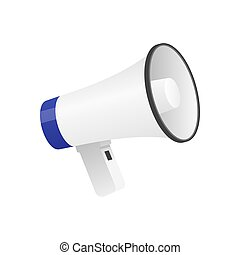 Vector illustration of cool detailed megaphone icon isolated on white background