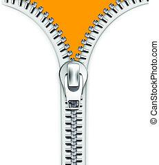Vector illustration of cool detailed open white metallic zipper