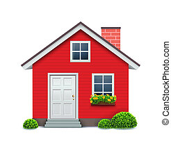 house icon - Vector illustration of cool detailed red house ...
