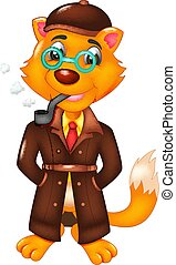 cool fox cartoon standing with smile and smoking