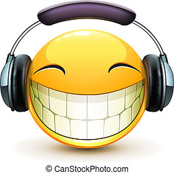 musical emoticon - Vector illustration of cool glossy single...