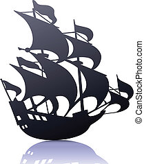 retro sailing ship - Vector illustration of cool silhouette...