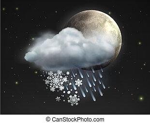 weather icon - Vector illustration of cool single sleet...