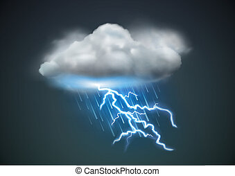 Vector illustration of cool single weather icon - cloud with heavy fall rain and lightning in the dark sky