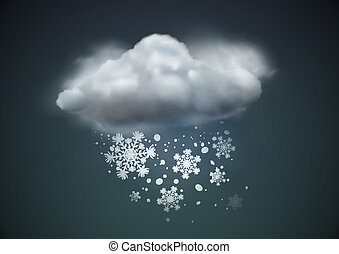 Vector illustration of cool single weather icon - cloud with snow in the dark sky