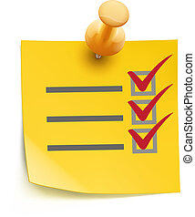 Vector illustration of cool yellow check list with push pin isolated on a white background.