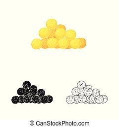 Vector illustration of corn and flake sign. Collection of corn and snack vector icon for stock.