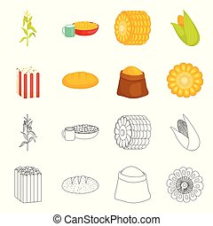 Vector illustration of cornfield and vegetable logo. Collection of cornfield and vegetarian vector icon for stock.