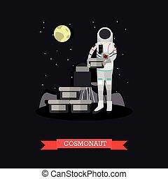 Vector illustration of cosmonaut in flat style