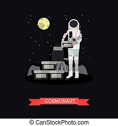 Vector illustration of cosmonaut in flat style