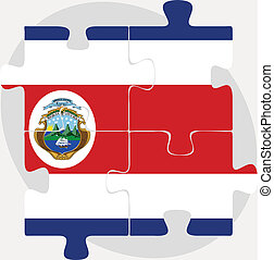 Costa Rica Flag in puzzle