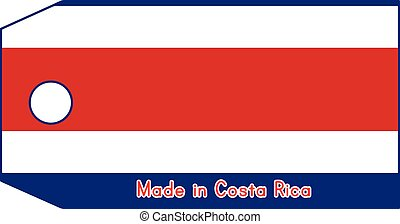 vector illustration of Costa Rica flag on price tag with word Made in Costa Rica isolated on white background
