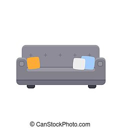 Couch icon with pillows in flat style. Vector illustration isolated on white background