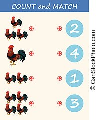 Count and match animal rooster. Math educational game for children