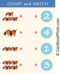 Count and match dog cartoon. Math educational game for children